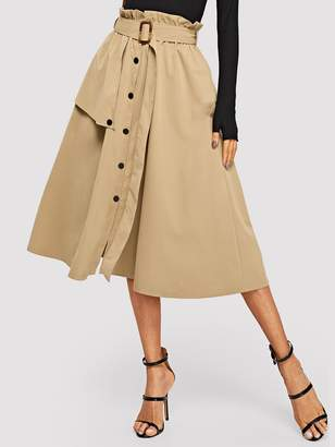 bbc415b195e Shein Button Front Belted Paperbag Utility Skirt