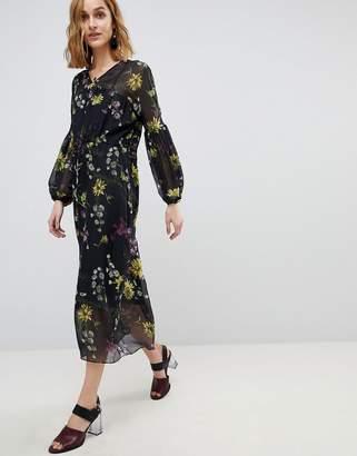 Warehouse Dutch Floral Print Balloon Sleeve Chiffon Midi Dress
