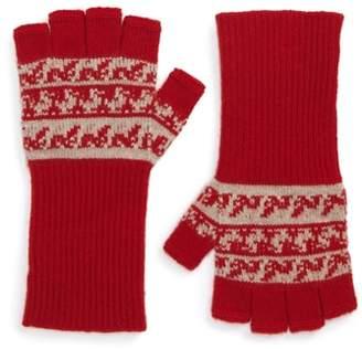 Burberry Fair Isle Cashmere & Wool Fingerless Gloves
