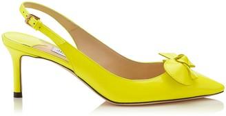 Jimmy Choo BLARE 60 Shocking Yellow Neon Patent Sling Back Pumps