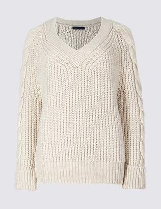 Marks and Spencer Cable Knit Sleeve V-Neck Jumper