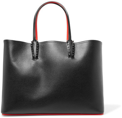 Christian Louboutin  Christian Louboutin - Cabata Studded Textured-leather Tote - Black