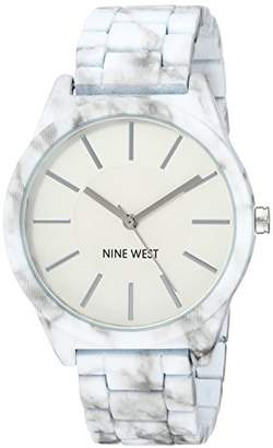 Nine West Women's NW/2015WTMB White and Grey Rubberized Bracelet Watch