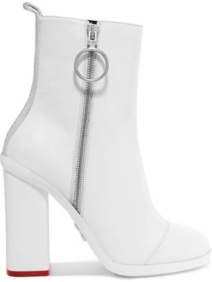 Off-White Grosgrain-trimmed Leather Ankle Boots