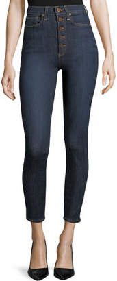 Alice + Olivia JEANS High-Rise Exposed Buttons Skinny Jeans