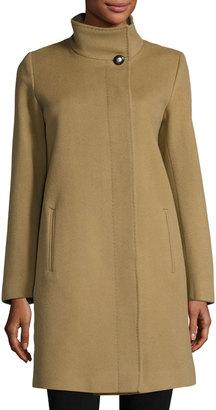 Fleurette Funnel-Neck Wool-Blend Coat, Toast $495 thestylecure.com