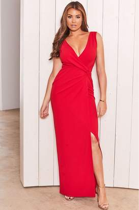 Jessica Wright Womens Sistaglam Loves Wrap Knot Maxi Dresses - Red