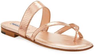 8efcf7ea249f49 Manolo Blahnik Susa Strappy Snakeskin Slide Sandals