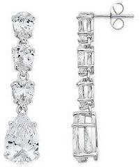 18 1/5 Carat Cubic Zirconia Pear Drop Sterling Silver Earrings