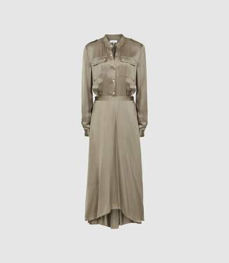 Reiss Donella - Military Detailed Midi Dress in Khaki
