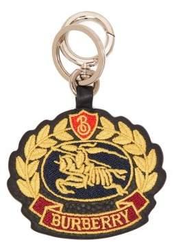 Burberry Crest Logo Leather Keyring - Mens - Navy