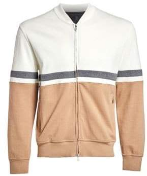 Brunello Cucinelli Colorblock Stripe Zip Sweatshirt