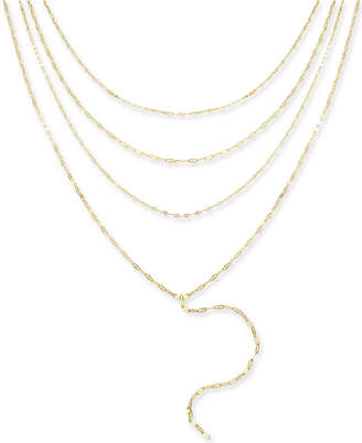 "Thalia Sodi Gold-Tone Multi-Layer Choker Lariat Necklace, 16""+ 3"" extender"