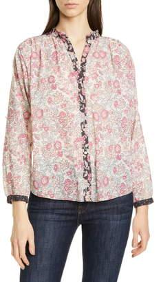 Rebecca Taylor Floral Pattern Mix Cotton Blouse