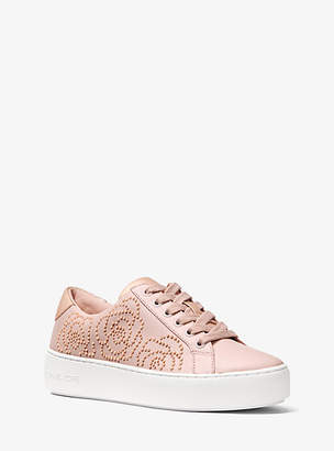 Michael Kors Poppy Rose Studded Leather Sneaker