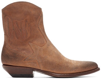 Golden Goose Brown Suede Courtney Boots
