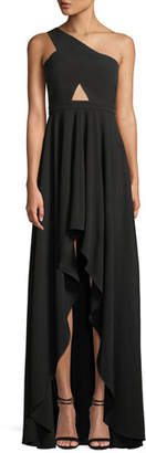 Fame & Partners The Zaylee One-Shoulder Cutout-Waist High-Low Formal Gown Dress
