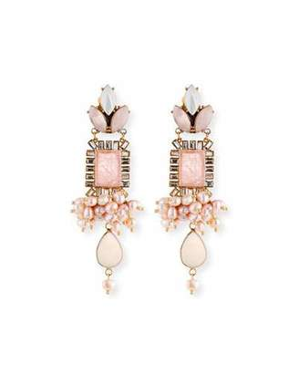 Sequin Mixed Crystal Statement Earrings, Pink