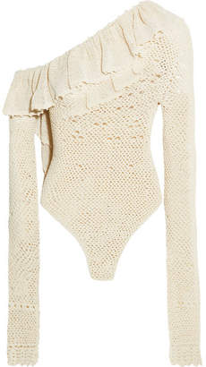Magda Butrym - Natal One-shoulder Ruffled Crocheted Cotton-blend Bodysuit - Cream