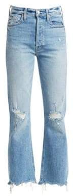 Mother Distress Frayed Ankle Jeans