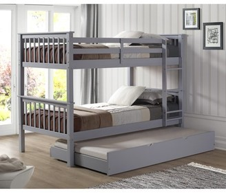 Manor Park Solid Wood Twin Bunk Bed with Trundle Bed - Gray