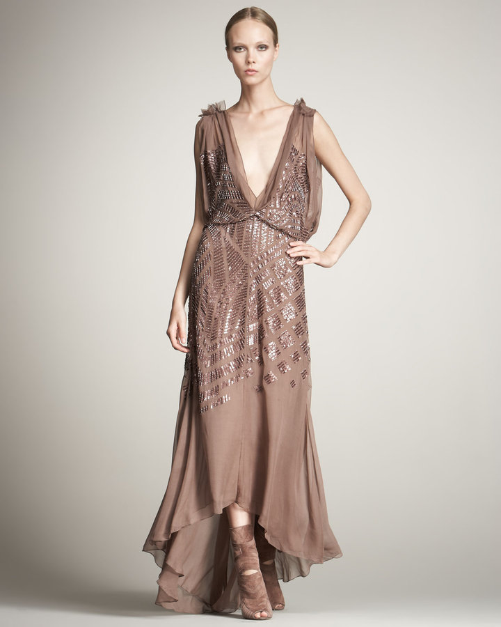 J. Mendel Sequined Chiffon Gown