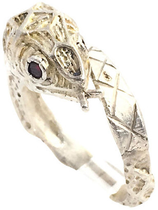 One Kings Lane Vintage Etched Sterling & Garnet Snake Ring - Owl's Roost Antiques