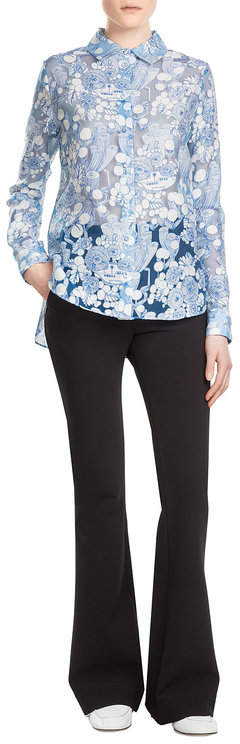 CarvenCarven Printed Asymmetric Blouse with Sheer Inserts
