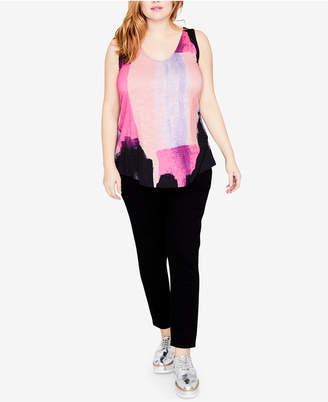 Rachel Roy Trendy Plus Size Printed Tie-Back Tank Top