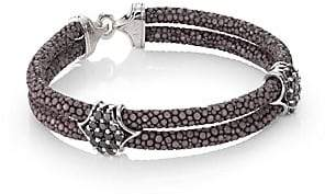 Black Diamond StingHD StingHD Men's Black Diamond, Silver& Stingray Peaked Wrap Bracelet