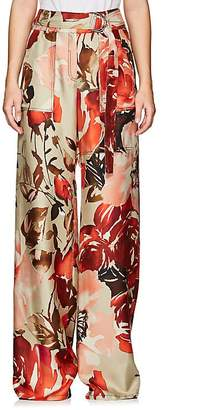 BY. Bonnie Young Women's Floral Silk Satin Work Pants