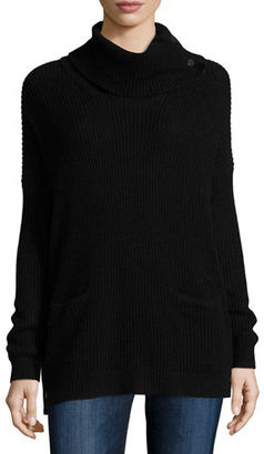 Neiman Marcus Waffle-Knit Cowl-Neck Sweater $190 thestylecure.com