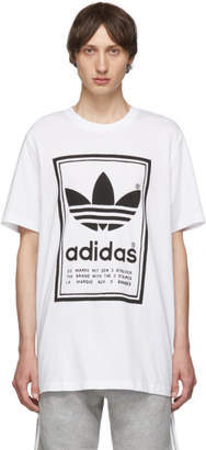 adidas White and Black Backwards Logo T-Shirt