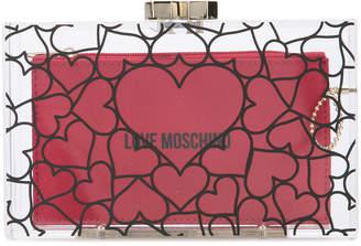 Love Moschino heart print clutch