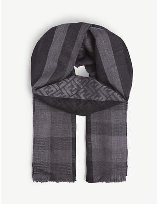 Fendi FF logo check wool scarf