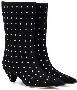ATTICO Sofia embellished suede ankle boots