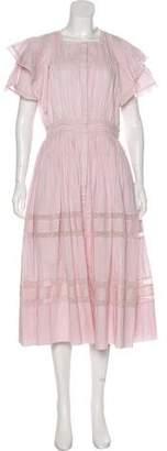 LoveShackFancy Lace-Accented Midi Dress