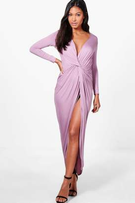 boohoo Drape Ruched Maxi Dress