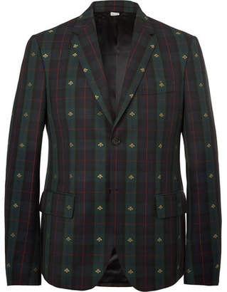 Gucci Embroidered Checked Wool-Twill Blazer - Green