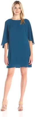 Amy Byer Women's Draped Sheath Dress with Flutter Sleeve Round Neckline Straight Hemline