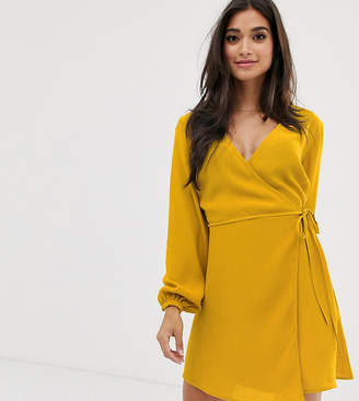 New Look Petite long sleeve wrap mini dress in mustard