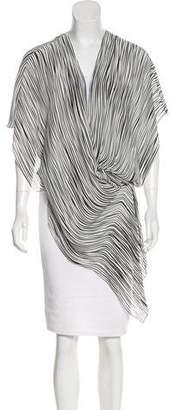 Barbara Bui Asymmetrical Striped Short Sleeve Top
