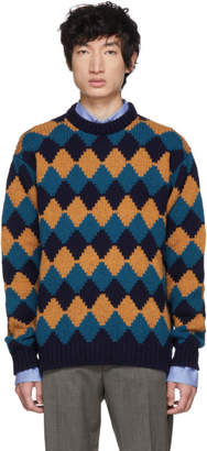 Prada Blue and Brown Crewneck Sweater
