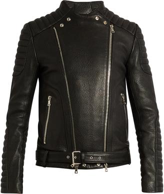 BALMAIN Collarless grained-leather biker jacket $3,525 thestylecure.com