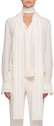 Chloé Scarf-Neck Crepe De Chine Silk Shirt w/ Rhinestone Embroidery