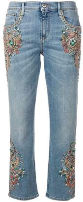 Roberto Cavalli crystal embroidered cropped jeans