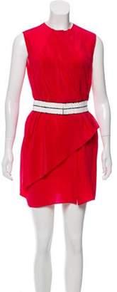 Vionnet Sleeveless Belted Mini Dress Pink Sleeveless Belted Mini Dress