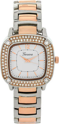 GENEVA Geneva Womens Square-Face Two-Tone Bracelet Watch