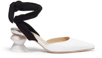 Rejina Pyo 'Barbara' sculptural heel suede ankle tie leather pumps