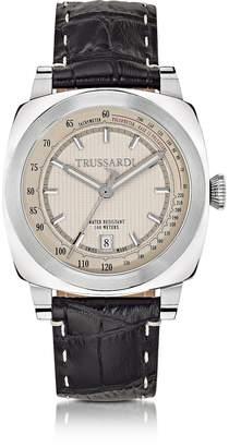 Trussardi Stainlees Steel w/Croco Embossed Leather Strap men's Watch